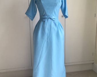 Stunning 1960's Lorrie Deb gown/maxi dress with train in duck egg blue