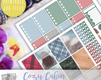 Cozy Cabin Full Weekly Kit - Printable Stickers for HAPPY PLANNER