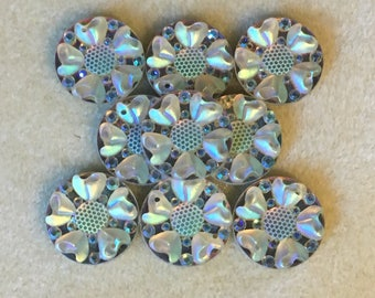 6pc Round rhinestone gems with hearts