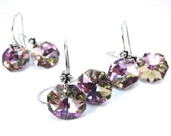 Vintage Strass Purple Swarovski Crystal Elements Earrings, Vitrail Light Octagon Earrings, Bridal, Wedding, Three Pairs Discount Sale