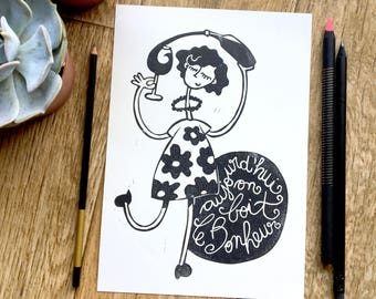 Linocut original illustration, now we drink happiness, is hand printed lino print inspirational black and white