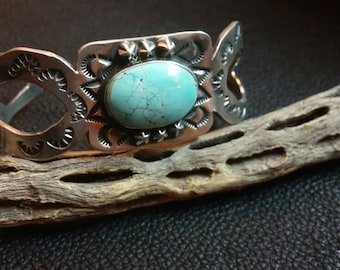 Stamped cuff Natural Turquoise sterling silver