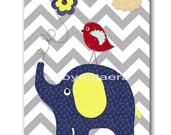 Elephant Nursery Baby Boy Nursery Art Print Childrens Wall Art Baby Room Decor Nursery Decor Kids Print Baby Wall Art Blue Yellow Gray
