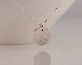Small disc necklace. Hammered disc necklace. Simple necklace. layering necklace