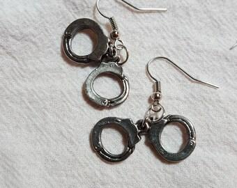 Silvertone Hand Cuff Earrings