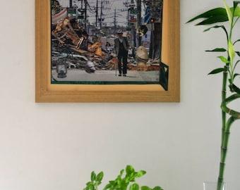 "Framed art collage, restored frame wood condition 38x38cm collage surreal pop art symbolism, ""The glimmer of hope""."