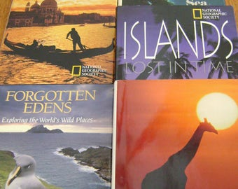 5 National Geographic Books: World Beneath the Sea, Journeys of the World, Forgotten Edens, Islands Lost in Time, & Wildlife