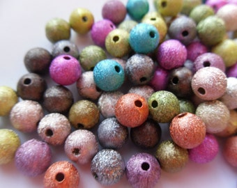 8mm Mixed Color Stardust Spacer Beads    -A3D3-1