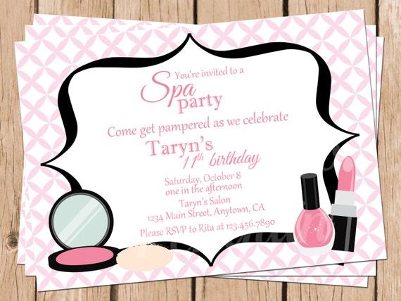 Tween birthday invitations spa party invitations teen like this item stopboris Image collections