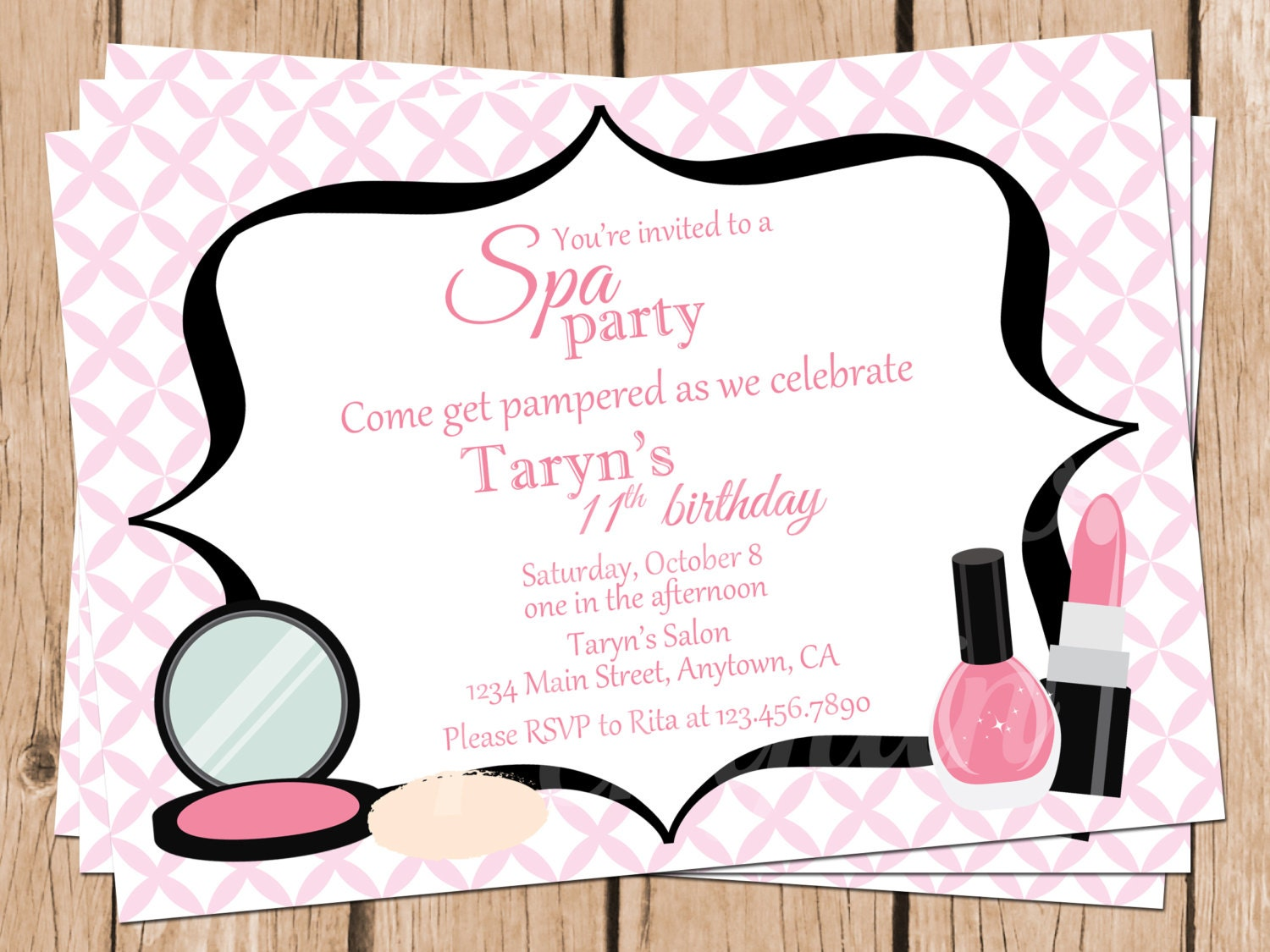 Tween Birthday Invitations Spa Party Invitations Teen