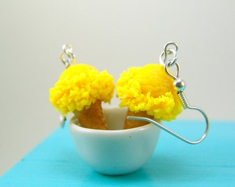 Ice Cream Earrings in Lemon Yellow // Food Jewelry // MADE TO ORDER // Miniature Food Earrings