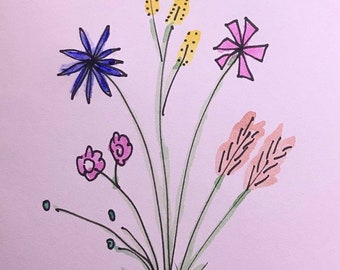 Original, hand-painted watercolor note card with whimsical flowers.