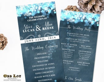 Rustic Winter Wedding Program Winter Wonderland Wedding Snowflake printable program Twinkling lights on Blue Chalkboard DIY Holiday card