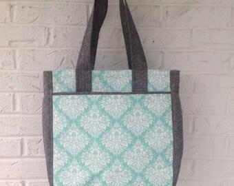 Large tote bag / Super tote / Large carryall bag / Around town bag / Diaper bag / Book bag / light turquoise and gray