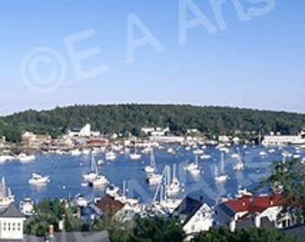 Boothbay Harbor Maine Panoramic View Maine Color Art Print -Maine Photographer  MADE IN US