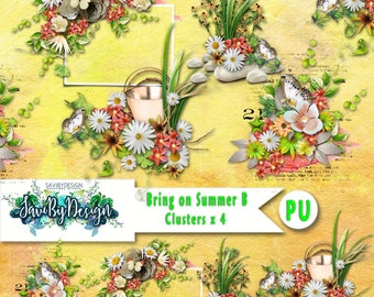 Digital Scrapbooking Clusters B set of 4 BRING ON SUMMER premade embellishment png clusters to make immediate scrap page