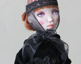 very cute ArtDoll ooak one of a kind Witch and Pumpkin art doll