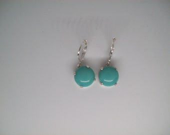 Round Caribbean Turquoise Vintage Czech Cabochon Earrings Set in Sterling Silver 11mm round