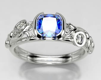 Half Bezel Fairy Scroll Cushion Cut Chatham Sapphire and Lab Diamond Engagement Ring, Made in your choice of Gold, or Palladium Gold, Size 5