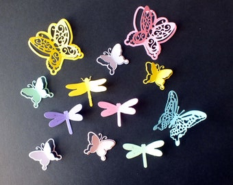 10 assorted Butterfly and Dragonfly die cut shapes assorted colours Cards Scrapbooks