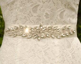 Silver Bridal Sash, Rhinestone Wedding Sash, Silver Sash, Bling Wedding Sash, Rhinestone Wedding Belt, Blng Beit, Rhinestone Sash-  JADE