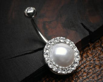 Pearlescent Sparkle Elegance Belly Button Ring