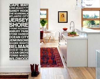 Jersey Shore Wall Art Bus Scroll, Subway Sign, Large Canvas, Custom, Vintage-look, Destination, Typography, Stops, Neighborhoods, Streets