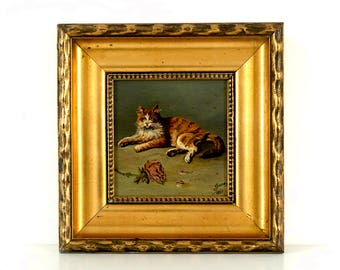 Vintage 1920's Original Oil Painting - Ginger Cat with Rose - Signed & Dated 1927 - Original Gilt Frame - Vintage Cat Painting
