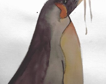 Watercolour Penguin Print