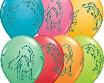 10 Pack Dinosaurs in Action Dino Assorted Latex Balloons