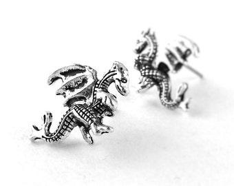 Welsh Dragon Jewelry - Silver Dragon Earrings - Fantasy Jewelry - Sterling Silver Stud Earrings - Gifts For Teen Girls Stocking Stuffer 24A