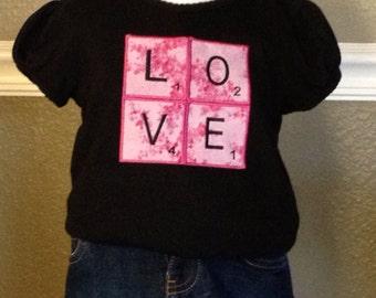 Girl's Valentine's Day Love Scrabble Tiles T-shirt