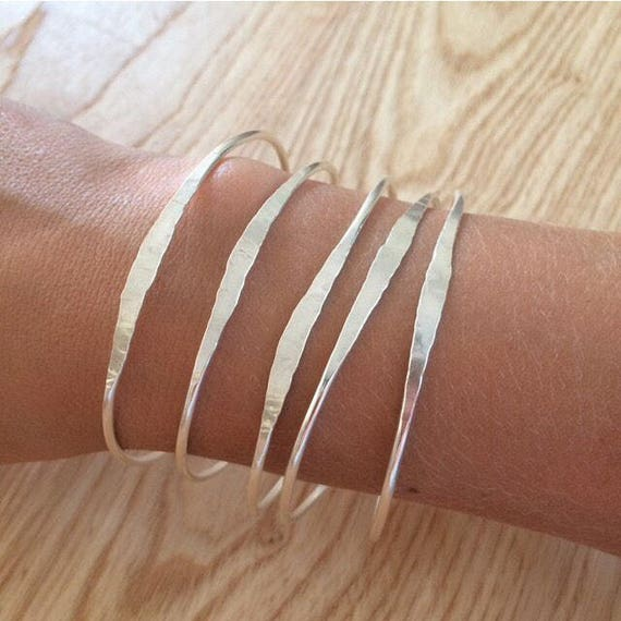 Hammered Sterling Silver Bangle - Planished - Stacking - Minimal - Classic - Simple - Stacker