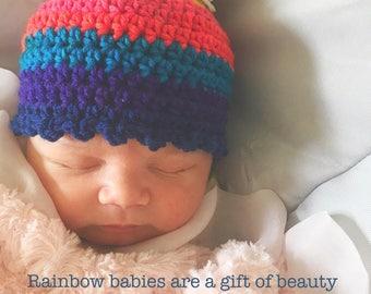 Rainbow Baby Hat, Crocheted Rainbow Baby Pom Pom Hat