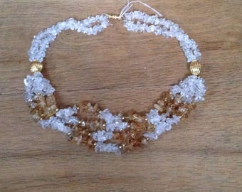 Vintage Four String Crystal Necklace / Chocker with Barrel Clasp Fixing.  In good condition