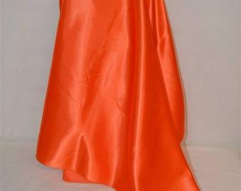 "Bright Orange Satin 44""W Halloween Fall Craft Pumpkins Leaves Jack-o-lanterns Costumes Banners VTG Fabric SBTY"