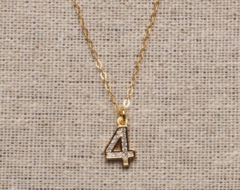 Personalized jewelry - Gold number pendant - 4 pendant - 4 number necklace - Gold 4 necklace - custom jewelry, personalized jewelry