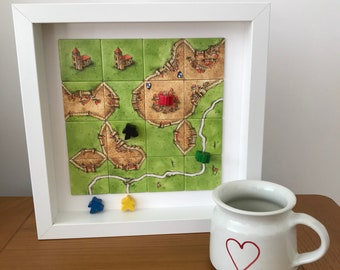 Carcassonne, Box Frame Art, Board Game Art, Father's Day, Gamer's Gift, Board Game