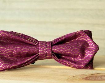 Bow. 86 Amanecer fucsia y dorado.  Pajarita hecha a mano con tela de algodón de gran calidad.