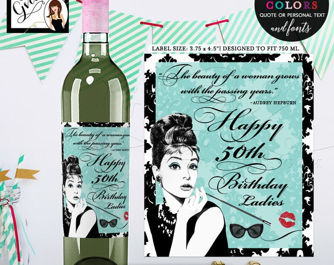 "Wine labels 50th birthday, Breakfast at PERSONALIZED wine labels. Digital File Only! {3.75x4.5""/4 Per Sheet} PRINTABLE"
