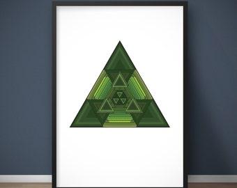 Green wall decor, Printable poster, Retro wall art, Wall art geometric, Triangle wall art, Fractal triangle, Triangle geometric, Triangle