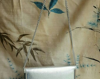 Silver Vintage Shoulder Bag Metallic Silver Purse Chain Strap Formal Handbag