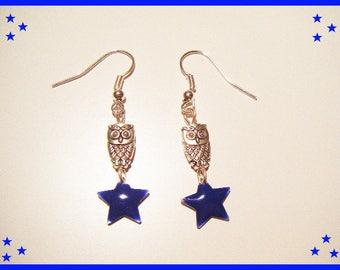 stars Royal Blue and OWL earrings OWL