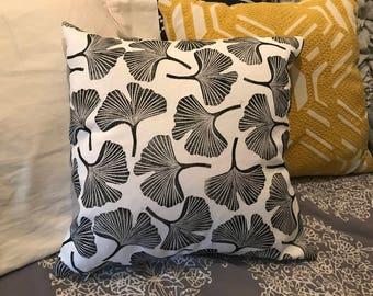 Black Ginkgo Print Pillow