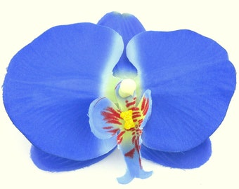 """4.5"""" Periwinkle Blue Orchid Poly Silk Flower Brooch Pin"""