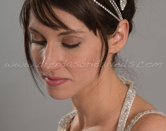 Rhinestone Hair Wrap, Bohemian Style Headband, Wedding Head Wrap, Silver or Gold Color - Ella