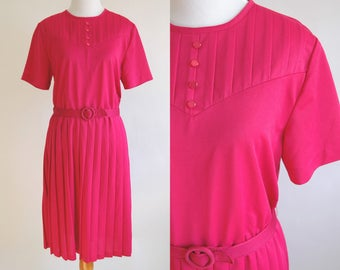 80s Fuchsia Pleated Short Sleeve Day Dress - Bright Pink Pleated Dress with Belt - Hot Pink Dress - Pretty in Pink 1980s Dress - Size Large
