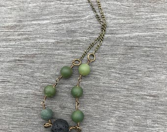 Jade necklace, essential oil diffuser necklace, lava stone necklace, green necklace, jade jewelry, green jade, gemstone necklace, boho