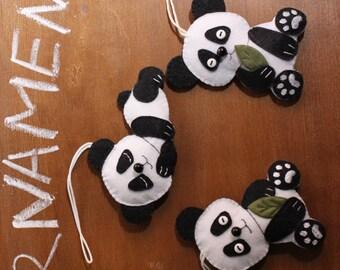 Set of 3 felt Panda Ornaments