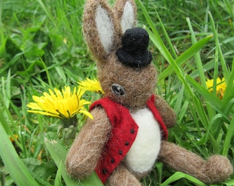Needle Felted Poseable Rabbit Art Doll OOAK